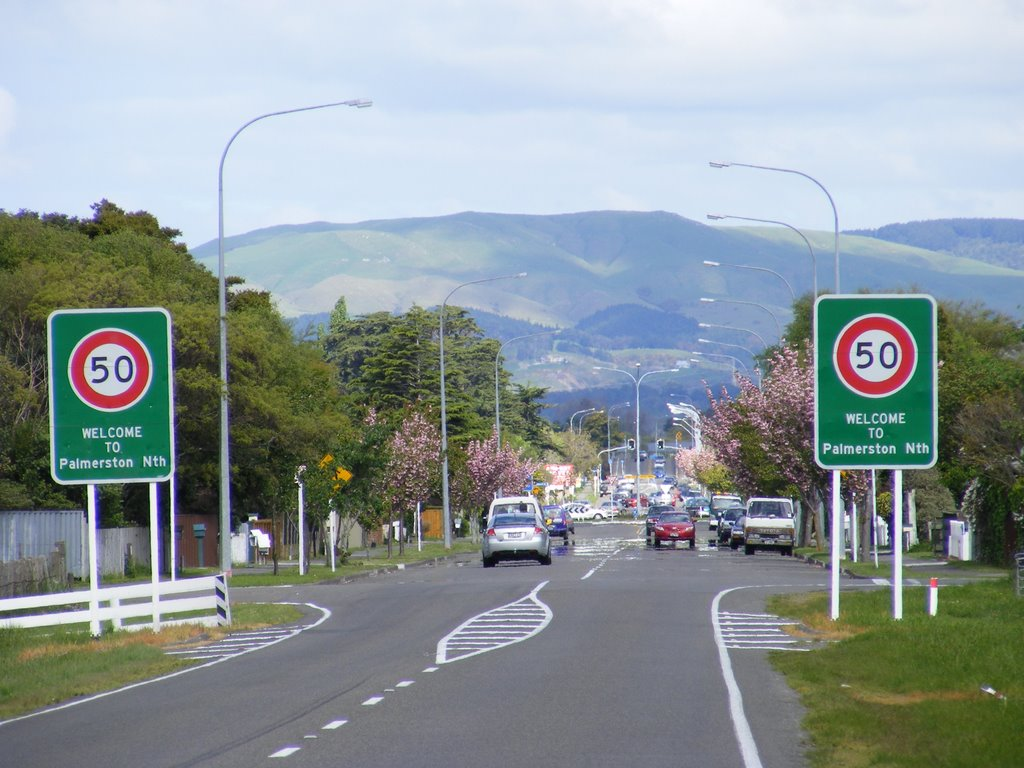 Entering Palmerston North, NZ
