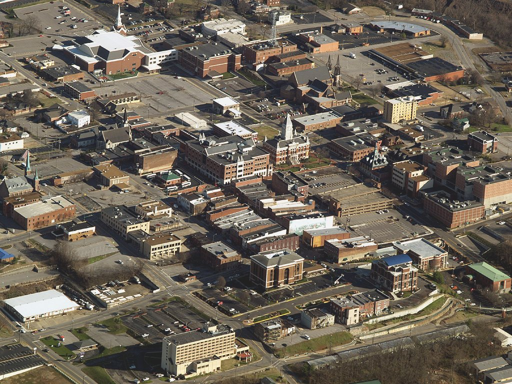 Clarksville, Tennessee - Downtown Aerial View