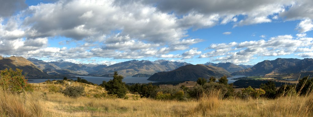 View to Lake Wanaka and Lake Hawea from Mt. Iron panorama looking NW