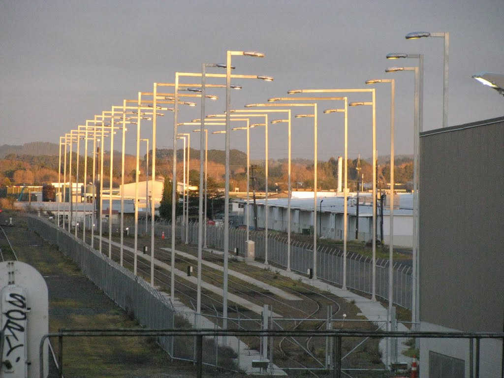 Lights over Commuter train compound, Pukekohe Station
