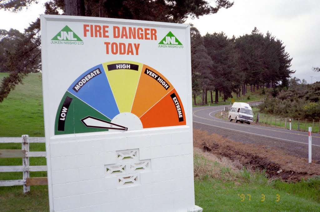 Fire warning, North Island, New Zealand 1997