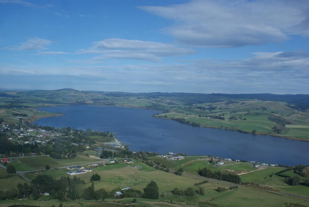 Lake Waihola, from helecopter, 2011