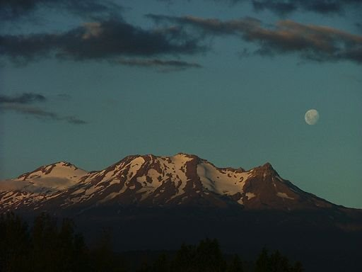moon rising at sunset on Mt Ruapehu