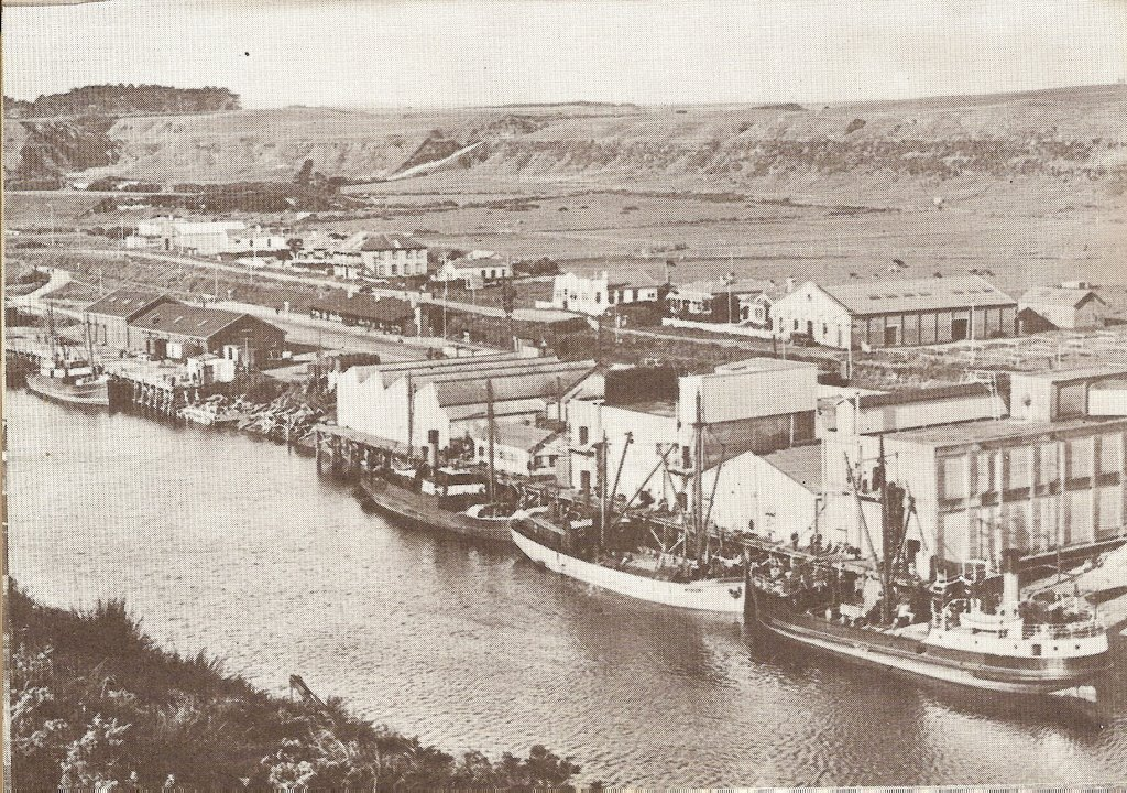 Historic 1934 photo of the Patea wharves.   Poor  photo but the only one known that shows the port as it was.