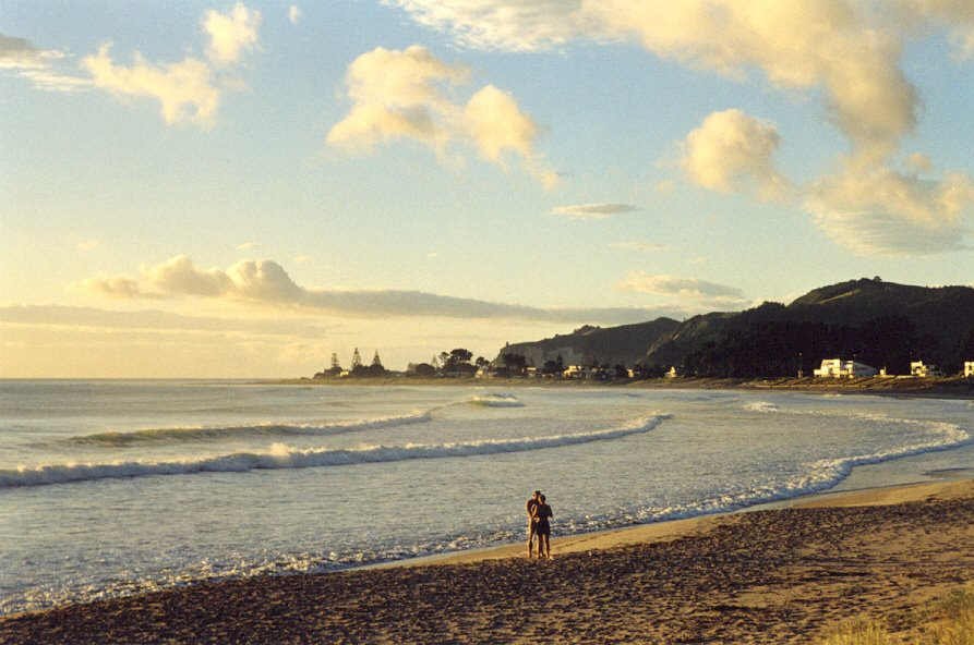 NZ, Whangamata, Sunrise on Whangamata beach