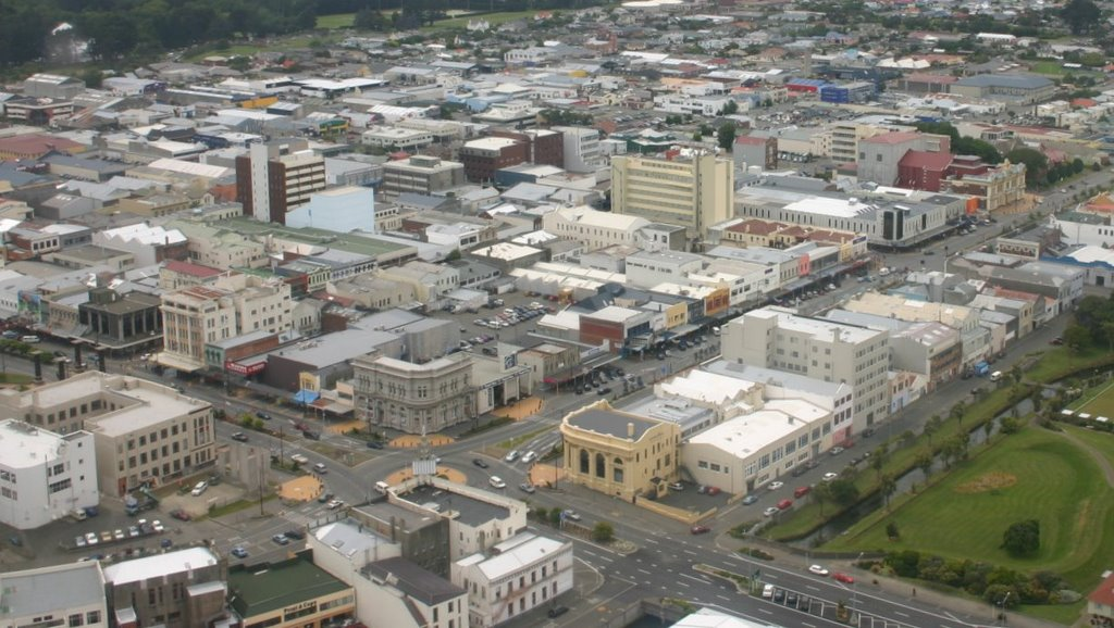 Invercargill City Centre from the air by Tony Reid